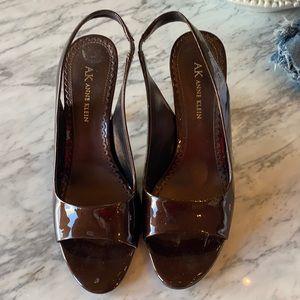 AK Anne Klein Brown Strappy Heels